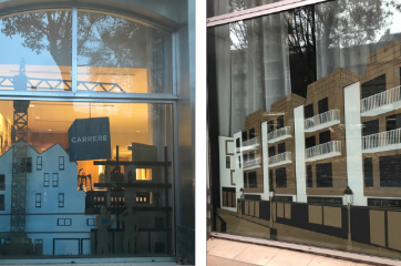 vitrines en carton-carrere toulouse-vitrine spectaculaire-vitrine insolite