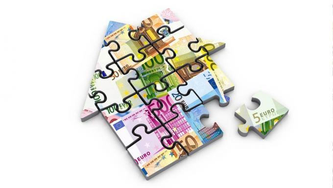 illustration maison puzzle-euros en filigrane